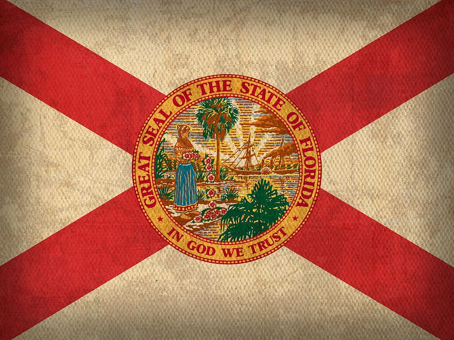 Florida State Flag Art On Worn Canvas By Design Turnpike State Flag Art Flag Art Florida State Flag