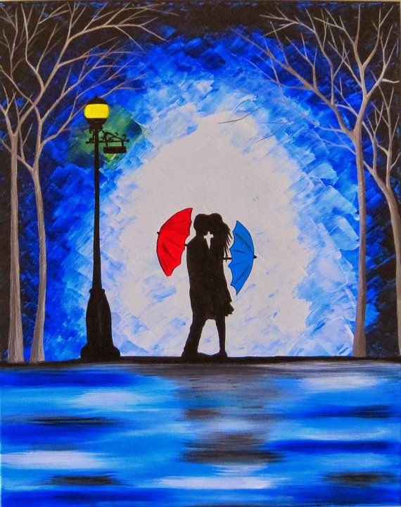 Original Couple In Rain Painting Kissing The Wall Art With Red Umbrella Silhouette