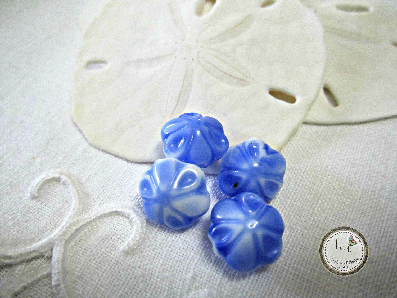 Vintage German Blue Flower Beads Blue Glass Vintage German Flower Beads German Blue Beads (2pcs)