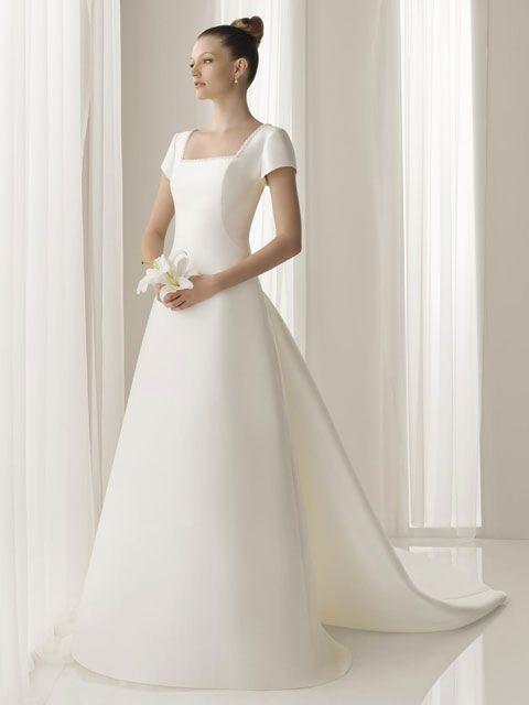 vestido de novia manga corta cuello cuadrado | dias especiales