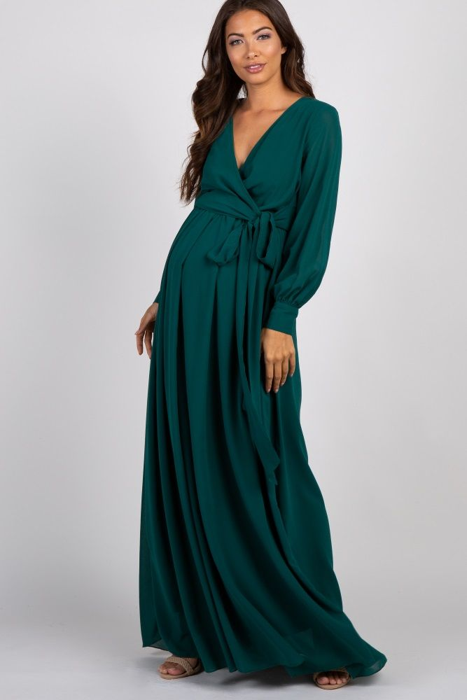 e53d5596905 Teal Chiffon Long Sleeve Pleated Maternity Maxi Dress in 2019 ...