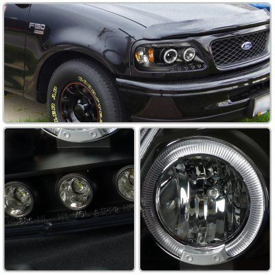 Ford F150 1997 2003 Black Halo Projector Headlights With Led Eyebrow Ford F150 F150 Ford F150 Accessories