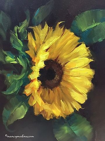 Artists Of Texas Contemporary Paintings and Art: Warm Heart Sunflower - Flower Paintings by Nancy Medina Art