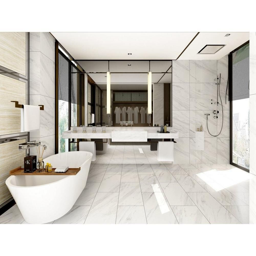 2.69/ SF Volakas Plus Polished Porcelain Tile - 12in. x 24in ...