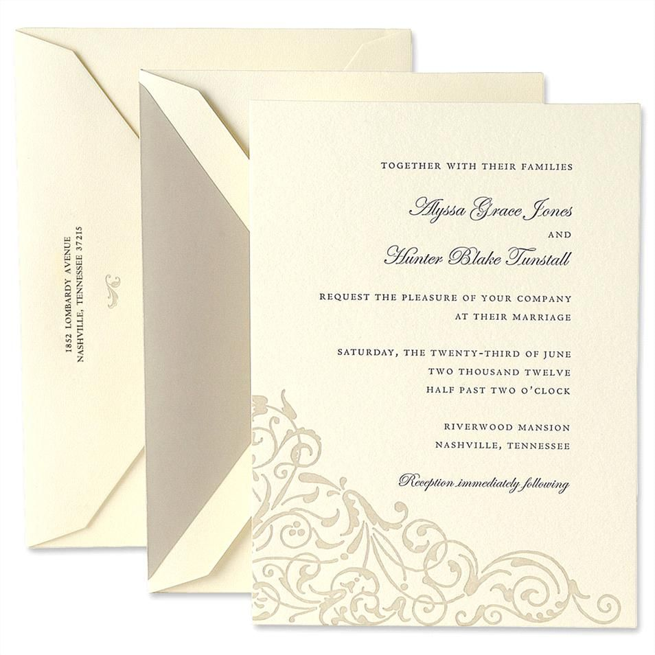 Letterpress Embassy Ecruwhite Invitation Set With Flourish Design By