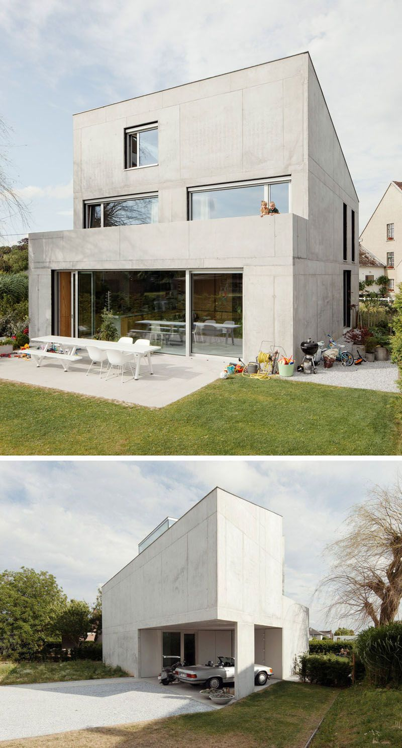 13 modern house exteriors made from concrete the solid concrete wall at the front of this house is a strong contrast to the more open back of the home