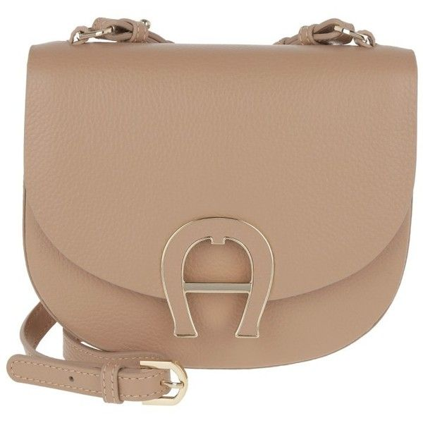 Aigner Shoulder Bag - Pina Mini Leather Crossbody Bag Tan Brown - in... ($420) ❤ liked on Polyvore featuring bags, handbags, shoulder bags, brown shoulder bag, tan leather shoulder bag, mini crossbody, leather handbags and leather crossbody handbags