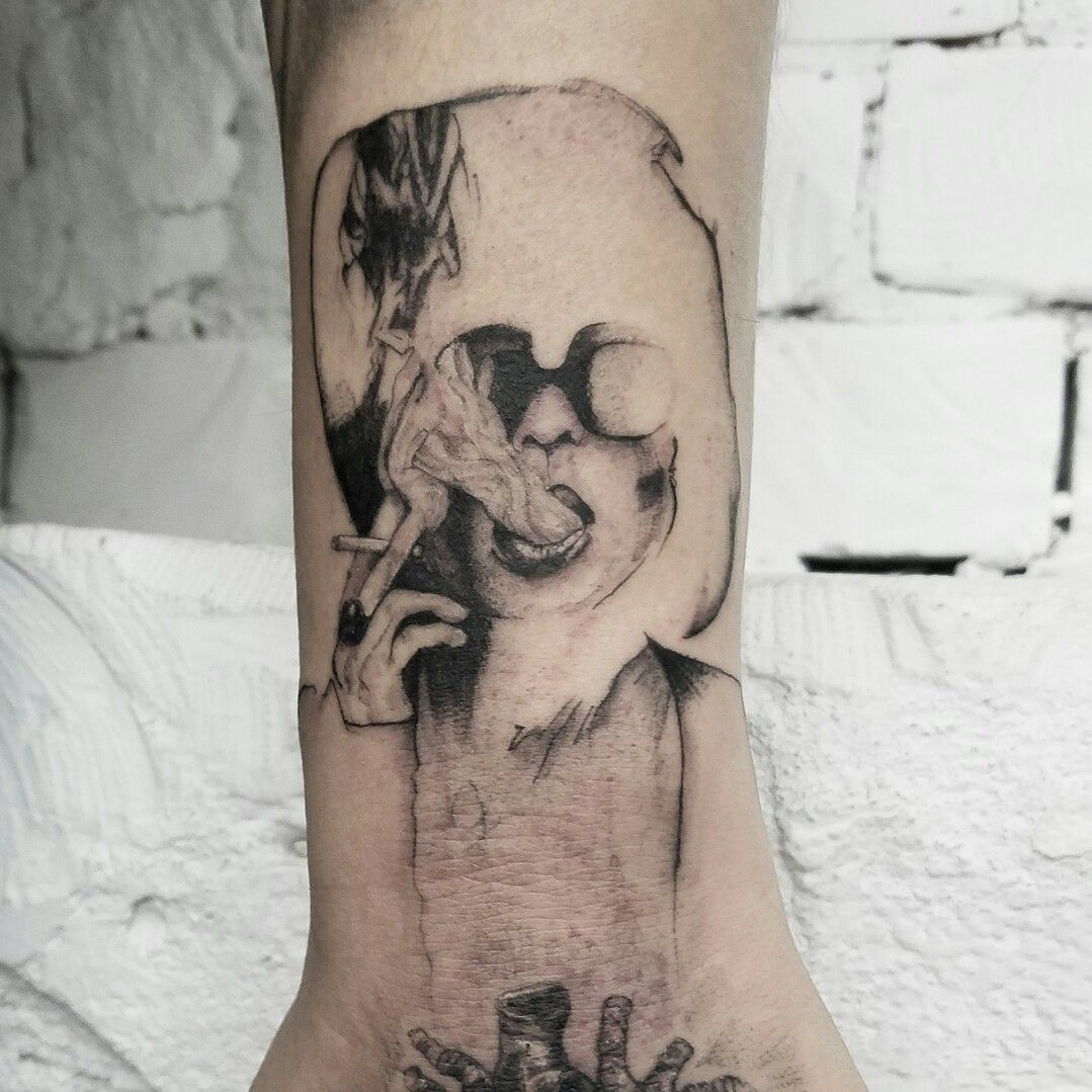 Helena bonham carter in right club abstract tattoo by