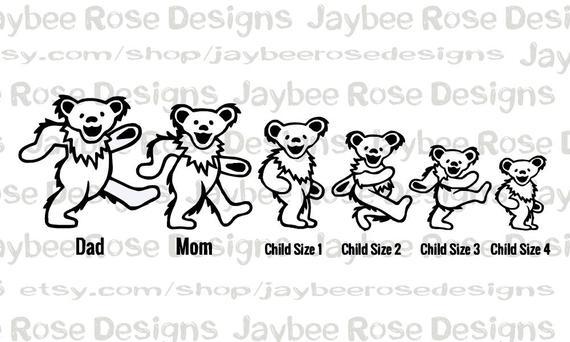 Grateful Dead Dancing Bears Create Your Own Stick Figure Family Car Decal Custom Gift Wedding Or B Family Stickers Vinyl Decals Family Car Stickers