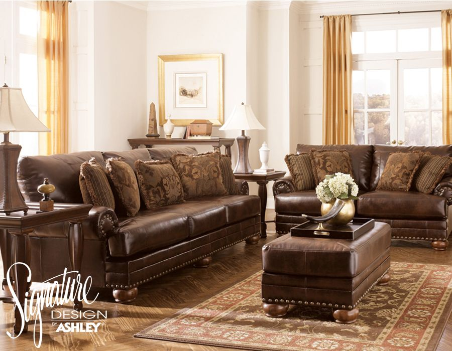 Home Furniture : Signature Design By Ashley Carlisle · Leather Living Room  ...
