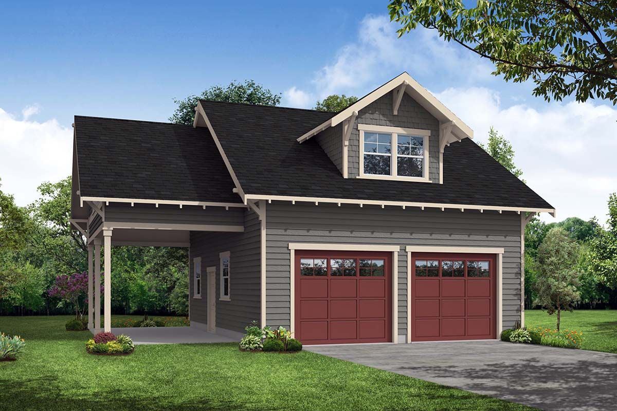 Craftsman Style 2 Car Garage Apartment Plan Number 41350