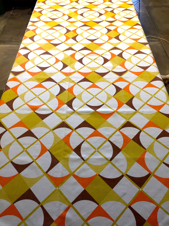 Disco 70s Geometric Op Art Design Fabric Scandinavian Vibe Cotton Blend Yardage Upholstery Drapery Home Decor New Old S Op Art Art Design Geometric