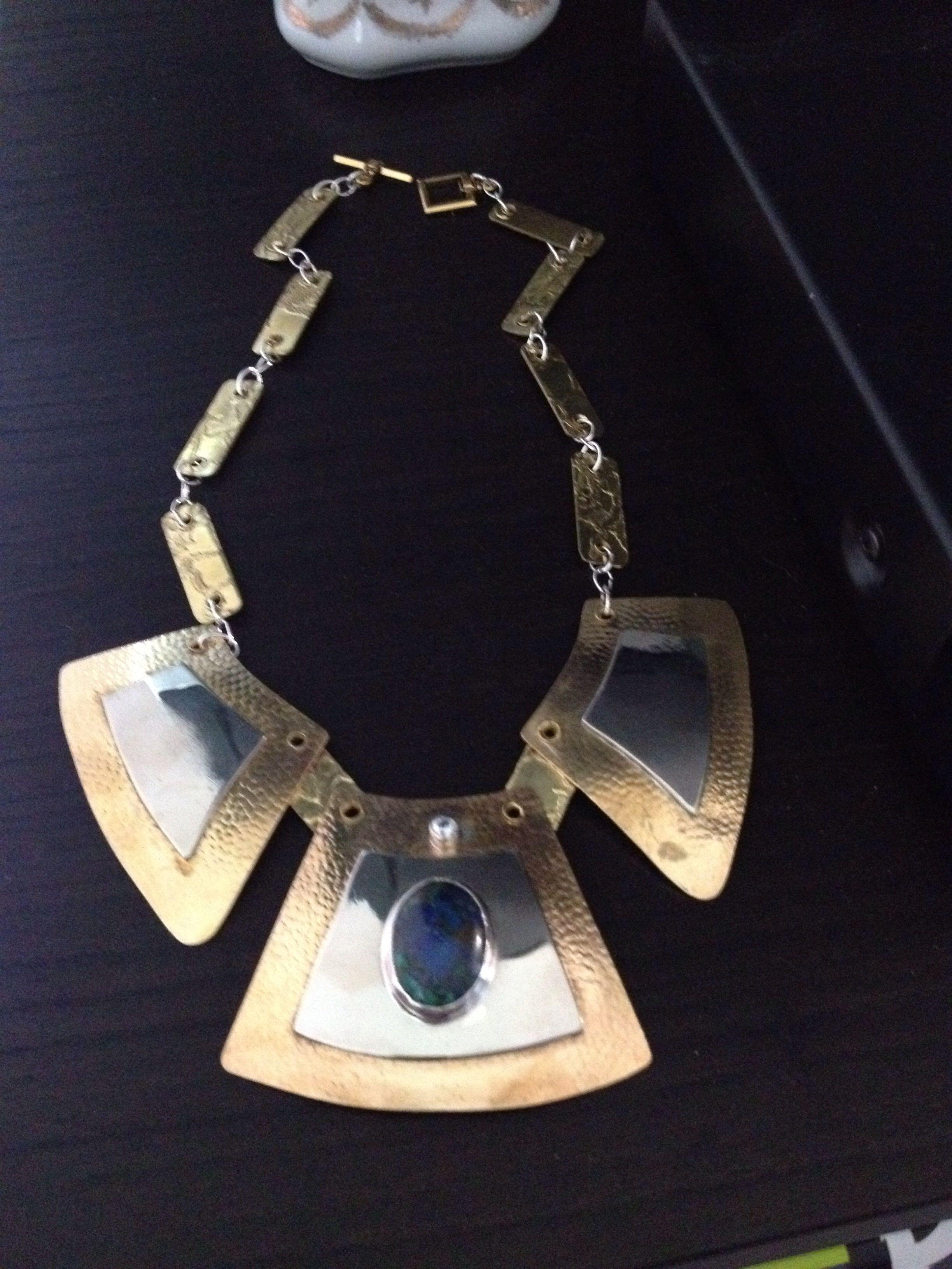 Brass and nickel necklace w/ blue stone