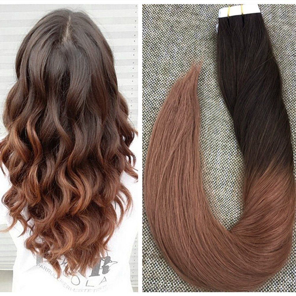 Medium Brown To Auburn Glue In Human Hair Ombre Skin Tape On Remy