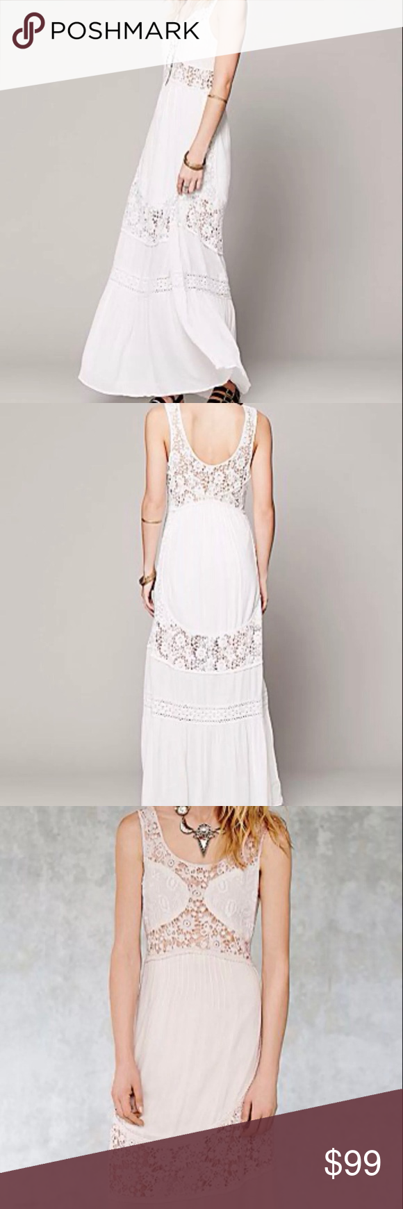 Lace dress maxi  Free People Daydream Lace Pieced Maxi Off white   People dress
