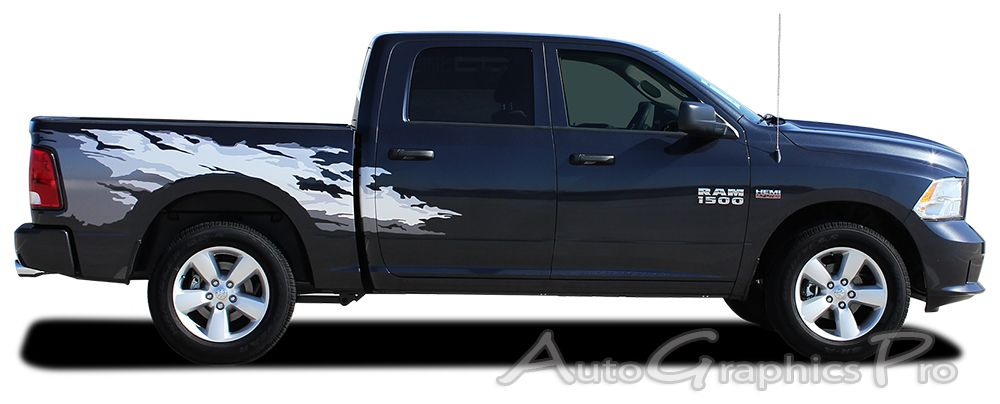 Dodge Ram RAGE Rear Bed Truck Stripes Vinyl Graphic - Truck bed decals custombody graphicsdodge ram