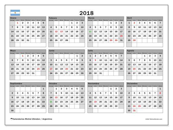 calendario para imprimir 2018 das feriados en argentina