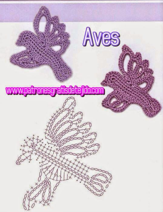 5 apliques decorativos al crochet: mariposa, pez, ave, manzana y ...