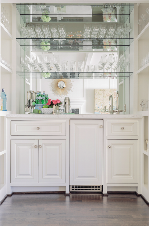 Mirrored Wet Bar Flanked By Built In Shelves Transitional Kitchen Bars For Home Glass Shelves Home