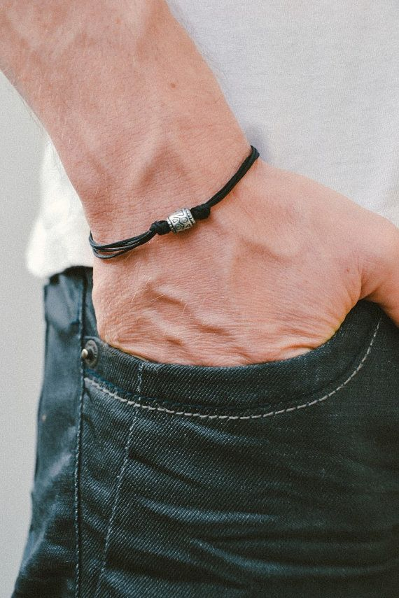 Black Cord Bracelet Men S Bracelet With Silver Aztec