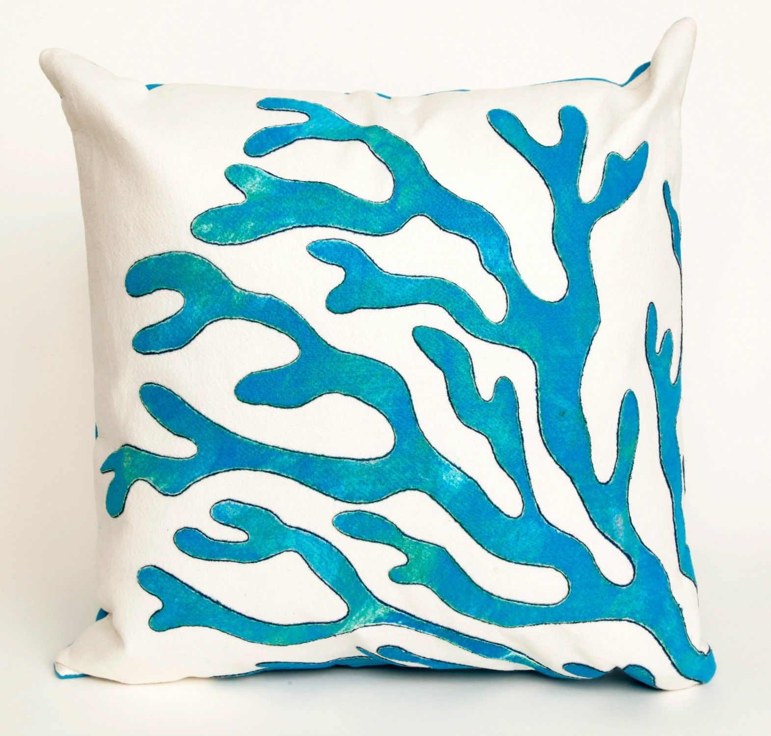 Coral Blue Outdoor Pillow by Liora Manne by TransOcean