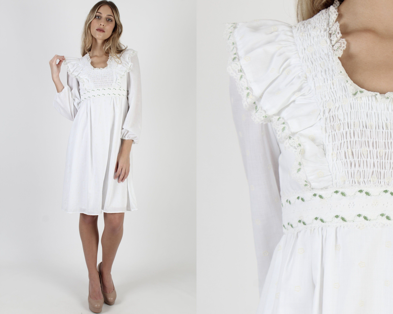 White Velvet Smocked Mini Dress Vintage 70s Lace Trim Tiny Etsy Mini Dress Boho Hippie Dress Vintage Dresses [ 2400 x 3000 Pixel ]