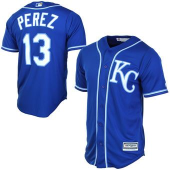 3fd368ef0d6 Men s Kansas City Royals Salvador Perez Majestic Royal Alternate Cool Base  Player Jersey