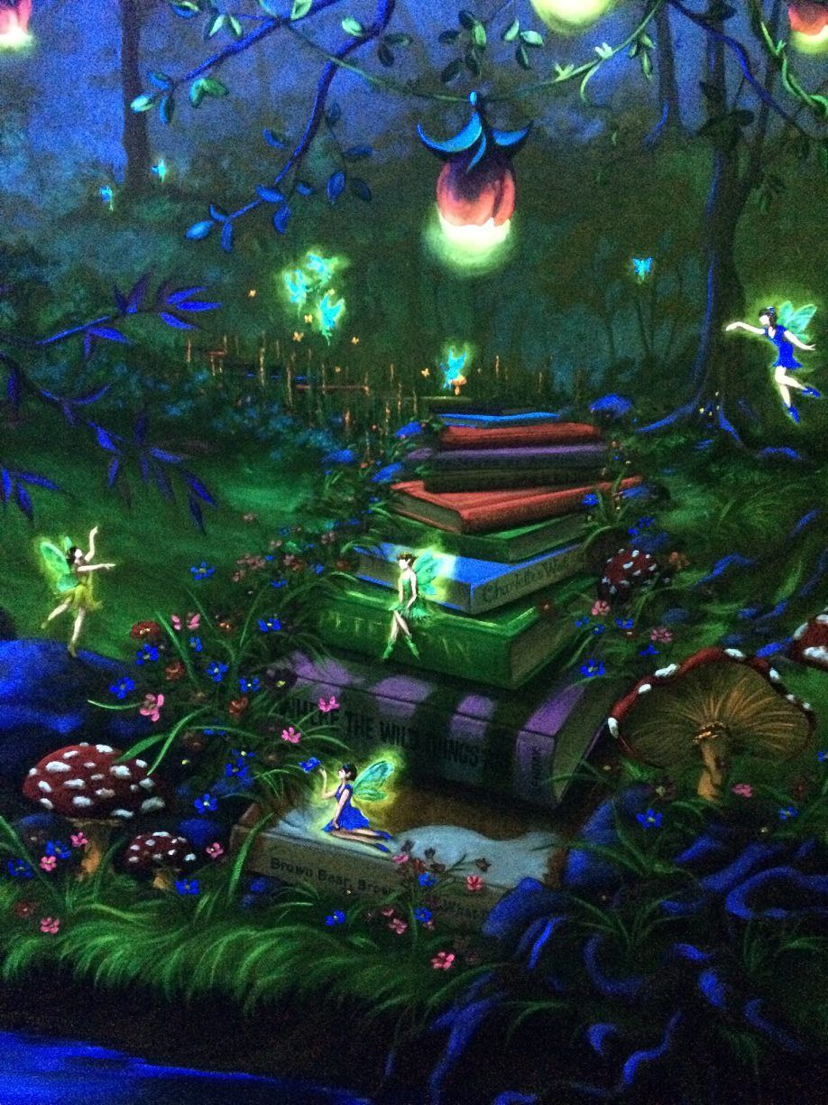 Enchanted forest bedroom mural under the blacklight book for Black light mural