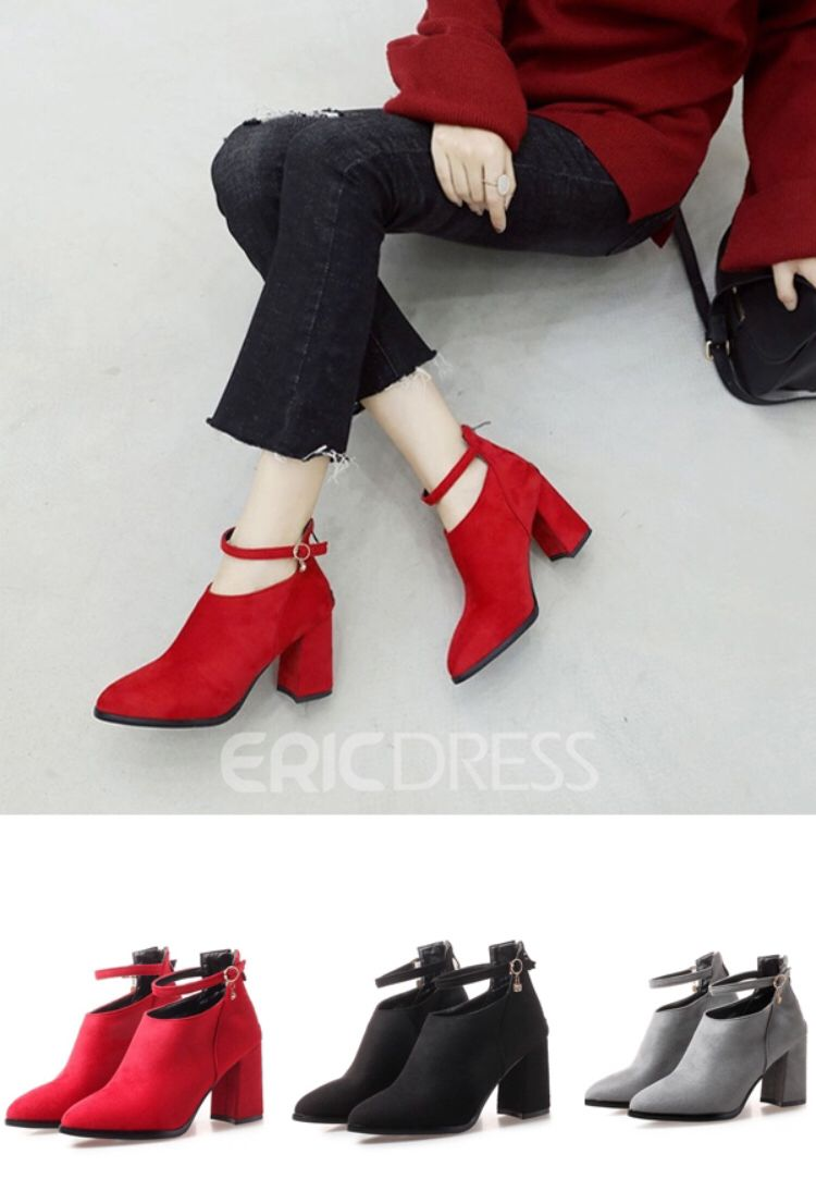ff86ebc75a8b Ericdress Round Toe Back Zip Chunky Heel Ankle Boots,product code:13431892  please follow Ericdress account can see more product and know the regular  ...