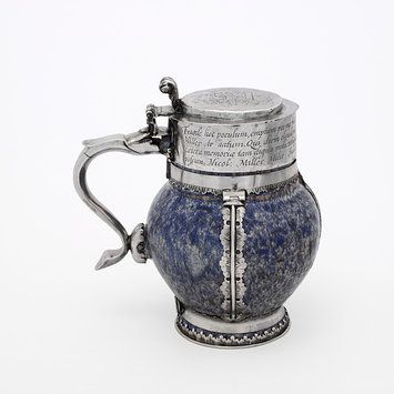 Jug, Place of origin: London, England (made)  Date: ca. 1600 (made)  ca. 1658 (made)  Artist/Maker: Unknown (production)  Materials and Techniques: Earthenware, with raised and engraved silver