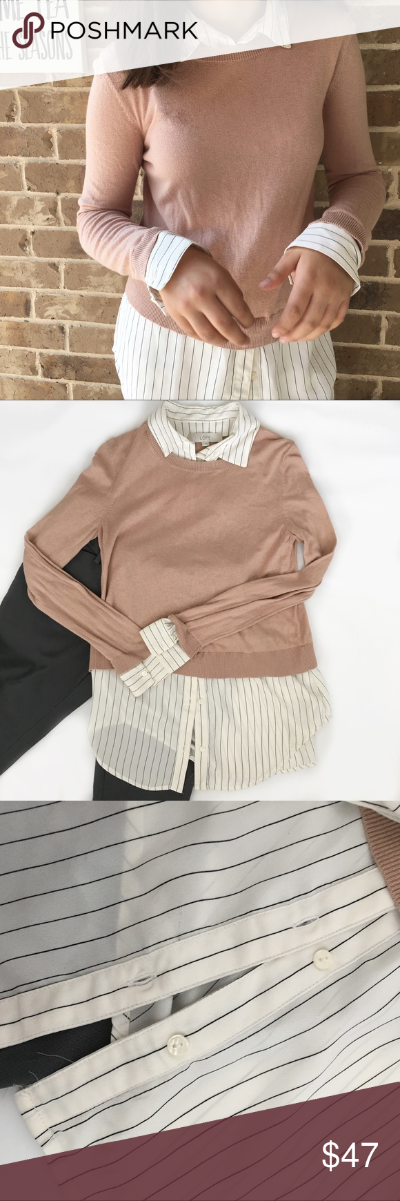 0cb8d62adfd 🎉HOST PICK🎉Ann Taylor Nude Sweater Striped Shirt 🆕Ann Taylor LOFT Pink