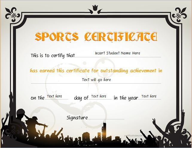 Sports Certificate for MS Word DOWNLOAD at http\/\/certificatesinn - certificate format in word