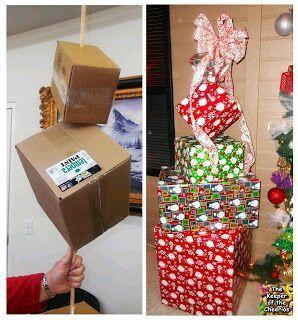Crea bonitas decoraciones navide as usando grandes cajas - Cajas grandes de carton decoradas ...