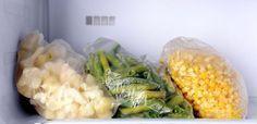 Frozen veggies in the freezer.
