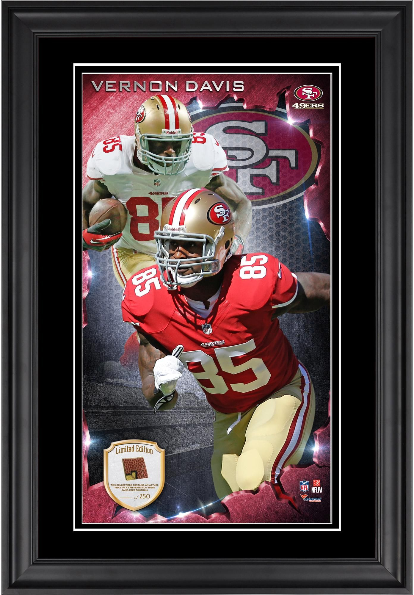 417ddac08 Vernon Davis San Francisco 49ers 10   x 18   Vertical Framed Photograph  with Piece of Game-Used Football - Limited Edition of 250