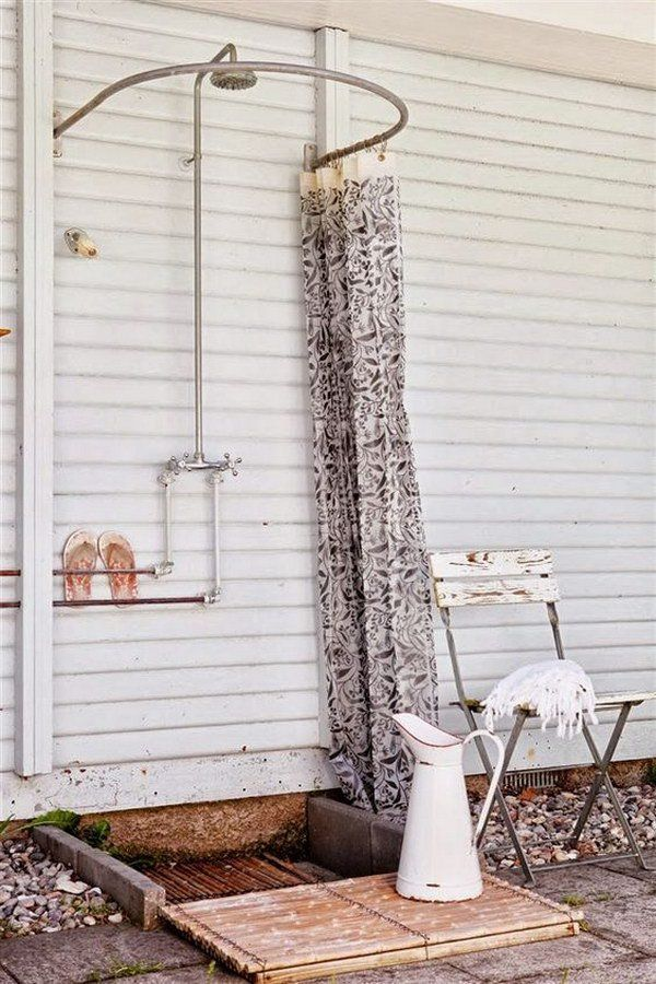 Lovely Great Outdoor Shower Ideas For Refreshing Summer Time Inside Outdoor Shower Curtain