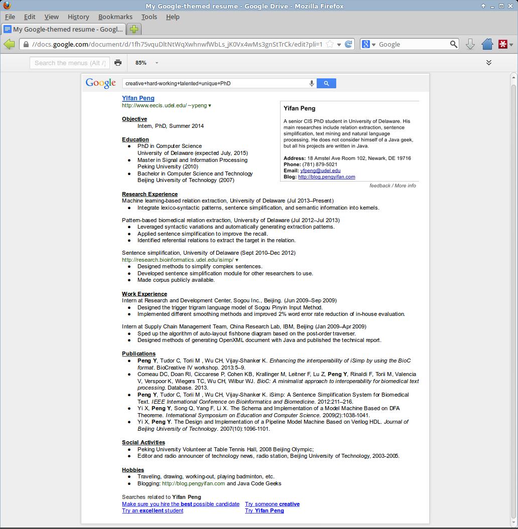 google resumes template google resumes