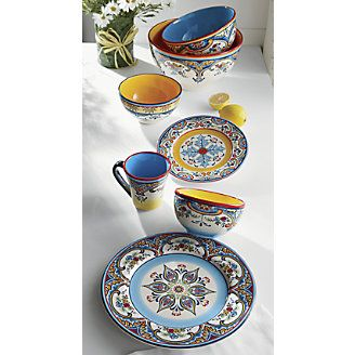 Zanzibar Dinnerware | intricate hand-painted florals in blue and yellow with touches of  sc 1 st  Pinterest & Zanzibar Dinnerware | intricate hand-painted florals in blue and ...