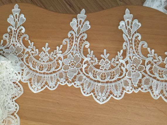 Photo of 2 yard Ivory Venice style lace trim for Applique, Corsets, B…