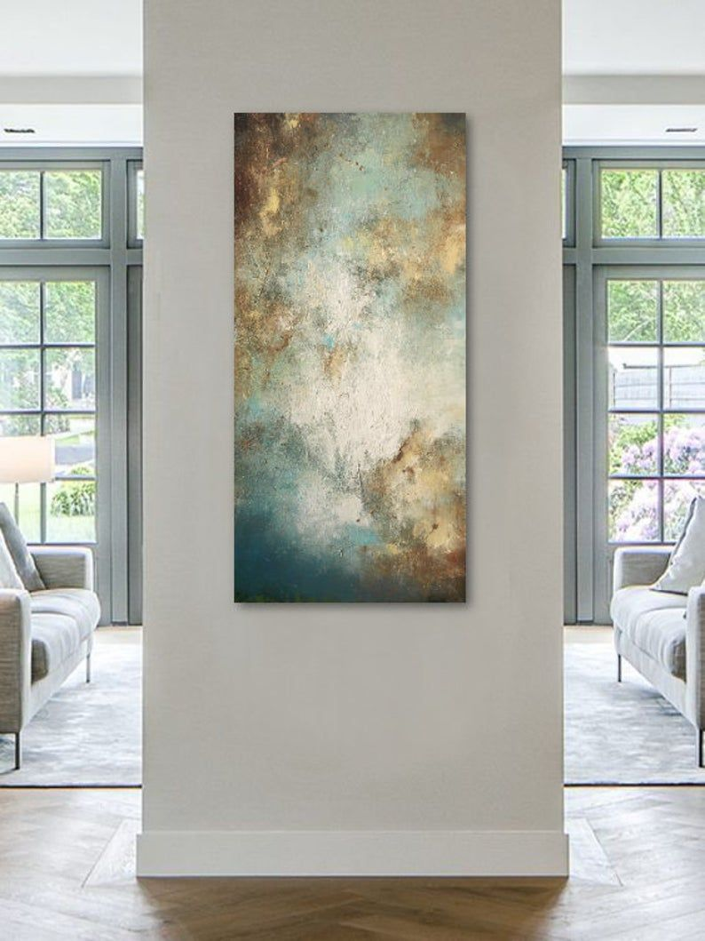 Best Abstract Painting On Canvas Blue White Ochre Sandy Shore 400 x 300
