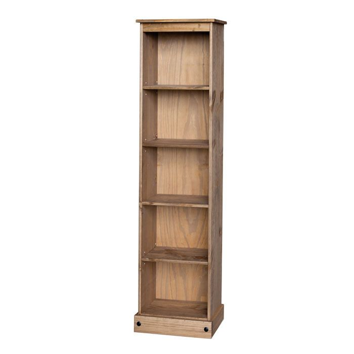 Core Products Premium Corona Solid Pine Tall Narrow 5 Shelf Bookcase With 3 Adjule Shelves