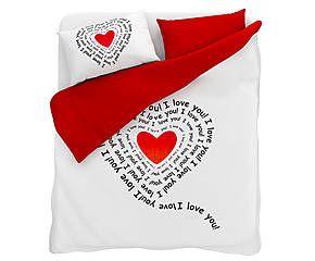 Copripiumino San Valentino.Parure Copripiumino Piazza 1 2 In Cotone Red Words Copripiumino