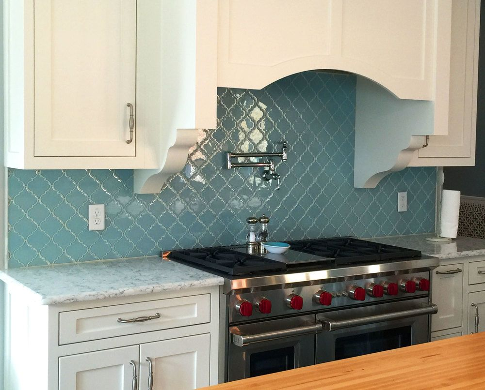 Large vapor arabesque glass tile kitchen backsplash | kitchen ...