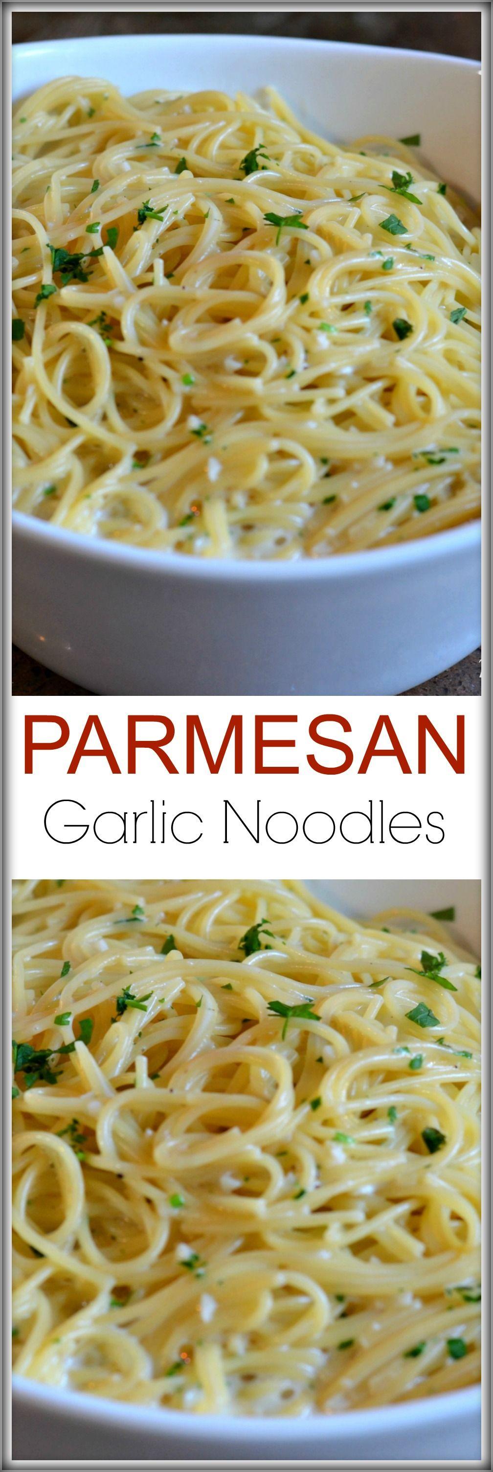 Parmesan Garlic Noodles #dinnersidedishes