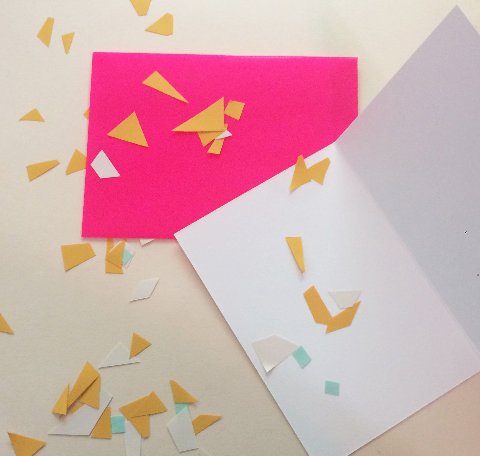 Cute Oversized Blank Greeting Card Set With Neon Pink Translucent Envelope And Card Confetti Greeting Card Set Hexagon Stickers Note Cards