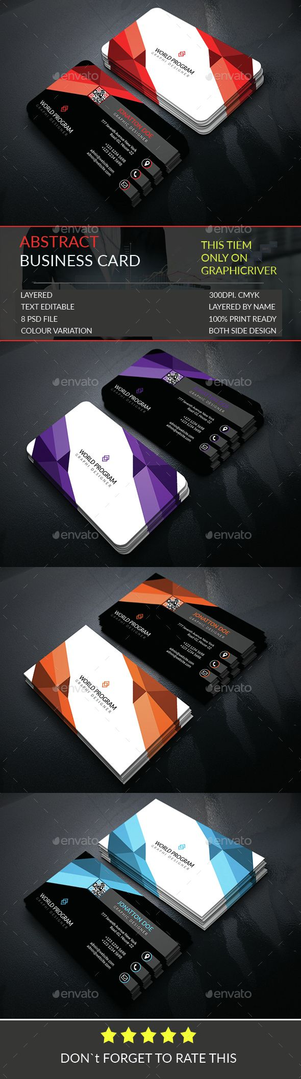 Abstract Business Card Template | Card templates, Business cards and ...