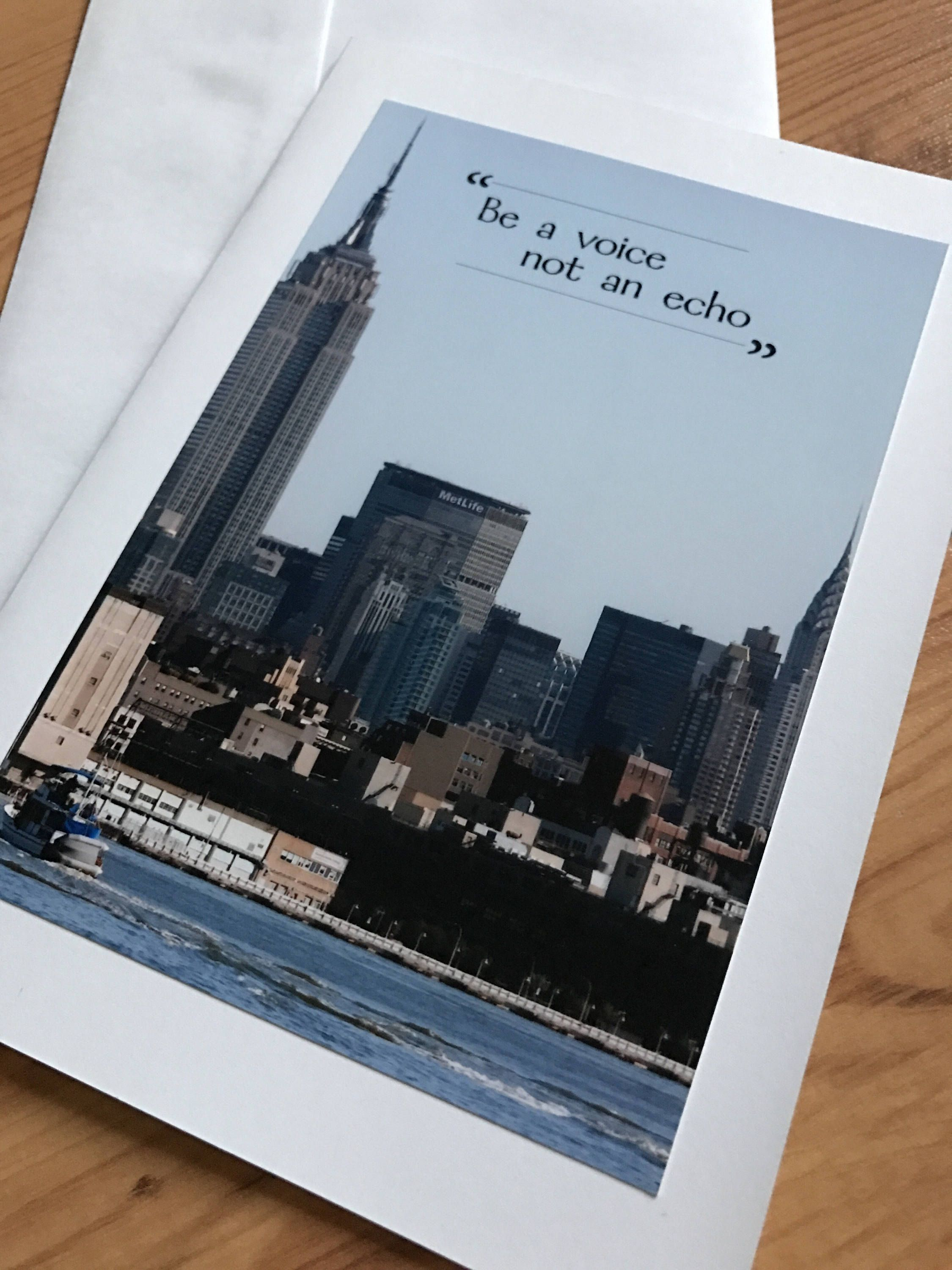 Be A Voice Not An Echo New York City Skyline Encouragement Greeting