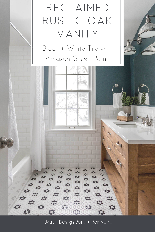 Reclaimed Rustic Oak Vanity Dark Green Bathrooms Green Bathroom Bathroom Tile Designs [ 1500 x 1000 Pixel ]