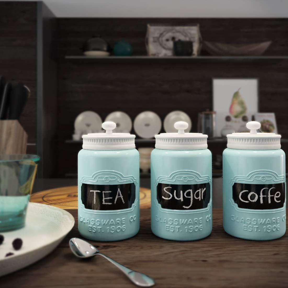 Mason Jar Ceramic Canister Set For Kitchen Set Of 3