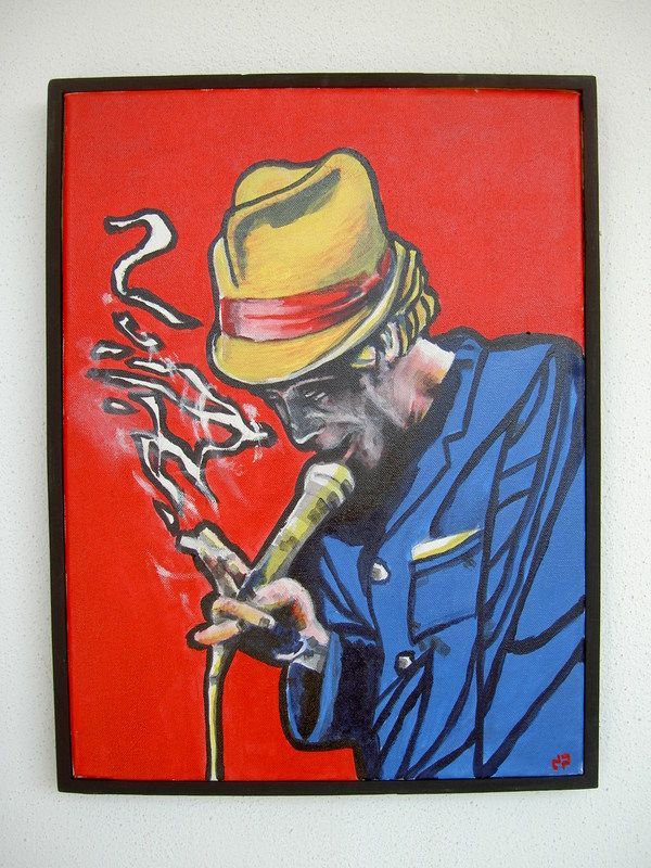 Tom Waits (canvas) by diogenis papadopoulos, via Behance